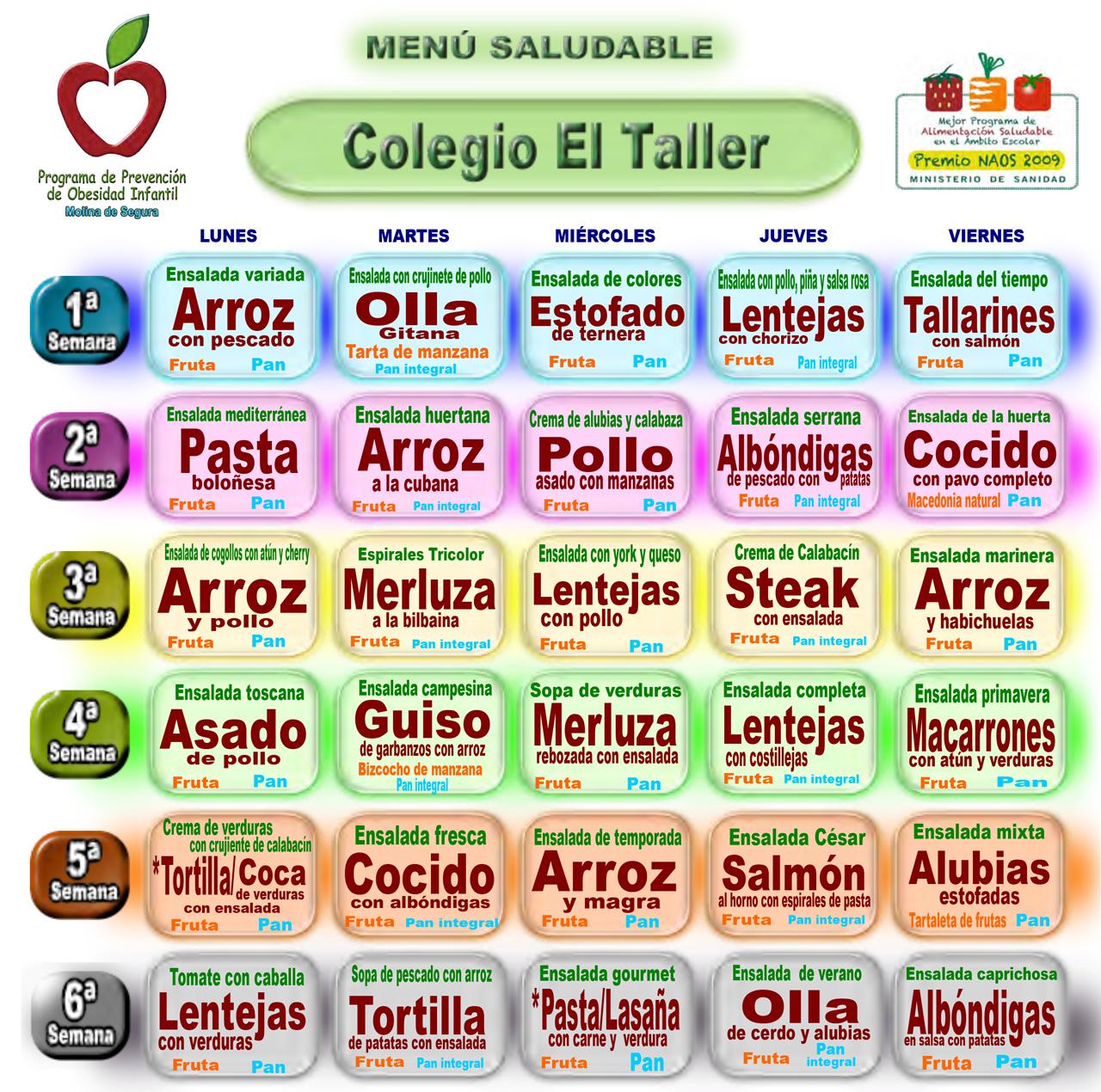 Menú comedor curso 2017-2018 – Colegio El Taller
